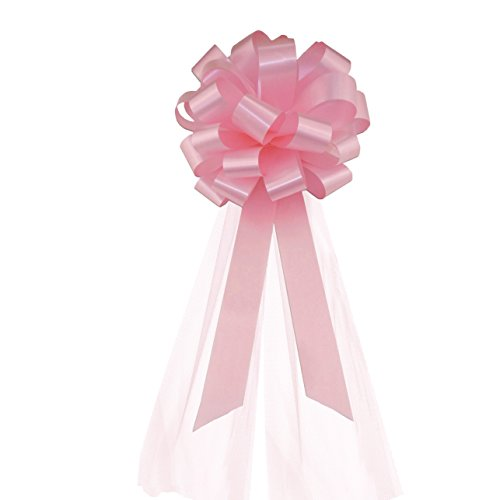 Petal Pull (Rose Petal Pink Wedding Pew Pull Bows with Tulle Tails - 8