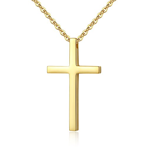 Reve Simple Stainless Steel Cross Pendant Chain Necklace for Men Women, 22'' Link Chain (Gold:1.71.02'' Pendant+22'' Chain)