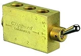 "product image for Clippard MJTV-5 4-Way Toggle Valve, Enp Steel Toggle, 1/8"" NPT, 10.5 SCFM at 100 PSIG"