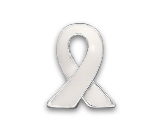 50 Lung Cancer Awareness White Lapel Ribbon Pins (50 Pins - (Sterling Silver Awareness Ribbon Pin)