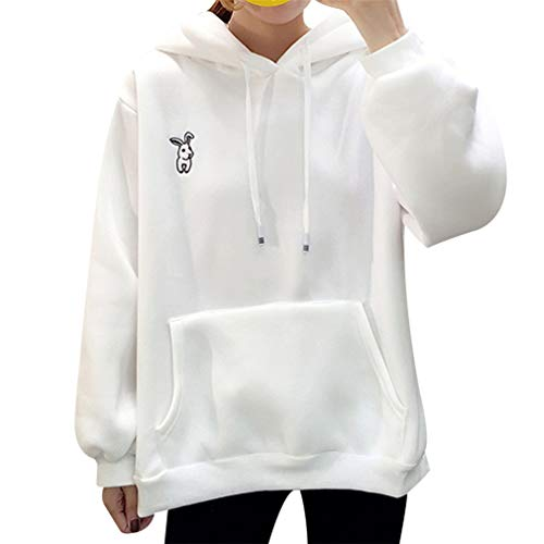 (Kawaii Sweet Rabbit Ears Hooded Sweatshirt Women Embroidery Pink Hoodies Loose Long Sleeve Tracksuits Pullovers White XXL)