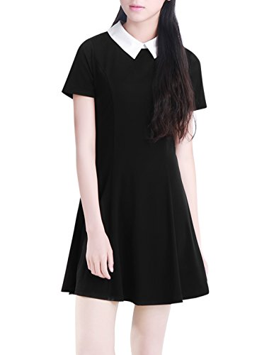 Allegra K Ladies Short Sleeves Contrast Collar Fit and Flare Dress XL Black