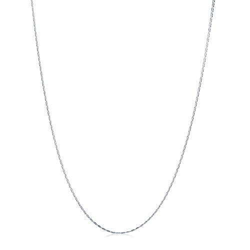 BERRICLE Italian Rhodium Plated Sterling Silver Flat Marina Chain Necklace 1.5mm 20
