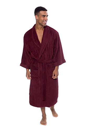 Texere Men's Luxury Terry Cloth Bathrobe (EcoComfort, Burgundy, SM) Fathers Day