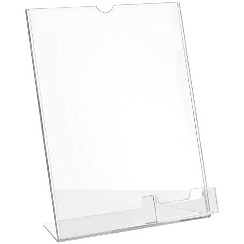 Deflecto Superior Image Slanted Sign Holder with Business Card Holder, Clear, 8-1/2