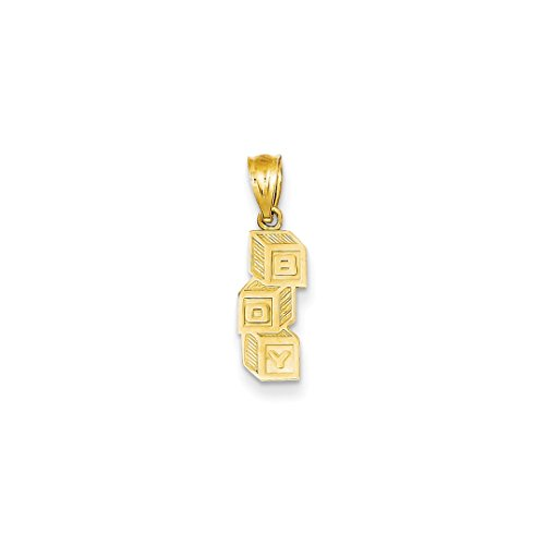 ICE CARATS 14kt Yellow Gold B O Y Building Blocks Pendant Charm Necklace Baby Fine Jewelry Ideal Gifts For Women Gift Set From Heart 14kt Gold Charm Block