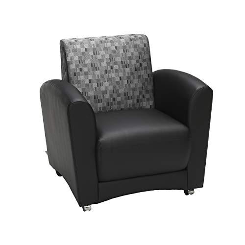OFM InterPlay Series Single Seat Chair, in Nickel/Black (821-NCKL-PU606NT)