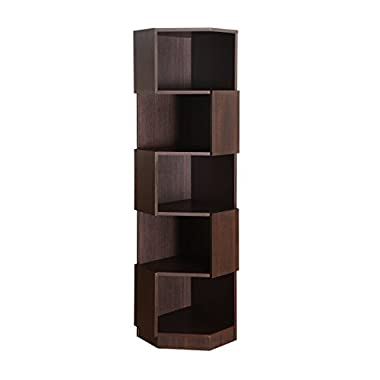Furniture of America Bassey 5-Shelf Bookcase Display Stand, Espresso