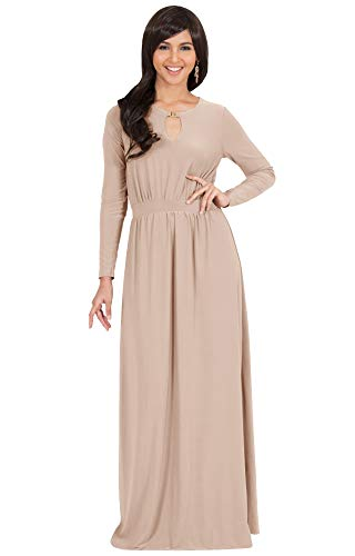 KOH KOH Plus Size Womens Long Sleeve Sleeves Modest Flowy Fall Winter Formal Empire Waist Evening Day Work Casual Abaya Muslim Wedding Gown Gowns Maxi Dress Dresses, Nude Champagne Brown 2XL 18-20