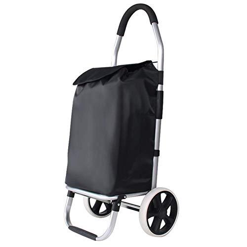 ZXMTC Portable Shopping Trolleys Lightweight Cart Hard Wearing Foldaway Bag Grocery Basket Easy Storage Folding Carrier Portable Wheels Store (Color : Black, Size : 3328100 ()