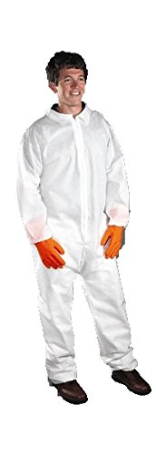 West Chester 3402 L PE Laminate Coverall with Elastic Wrist & Ankle, Large, White (Pack of 25)
