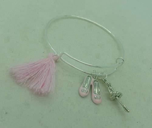 Dance ballet Silver-tone Charm Bangle Bracelet Gift for Girls