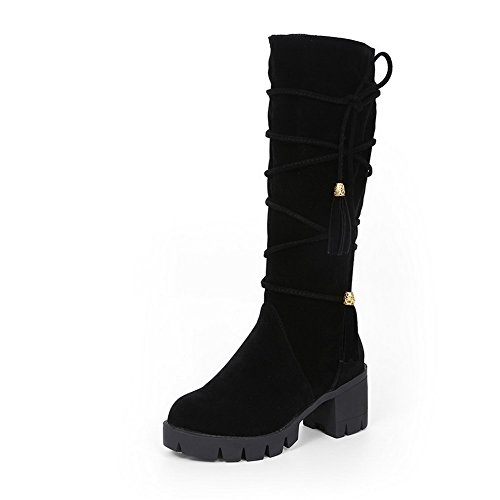 Zipper Round Toe Heels Boots Frosted Closed Allhqfashion Women's Kitten Black Solid FR8U8q