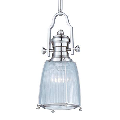 Maxim 25002CLSN Hi-Bay 1-Light Pendant, Satin Nickel Finish, Clear Halophane Glass, MB Incandescent Incandescent Bulb , 100W Max., Dry Safety Rating, Standard Dimmable, Glass Shade Material, 10350 Rated - 1 Halophane Pendant Light