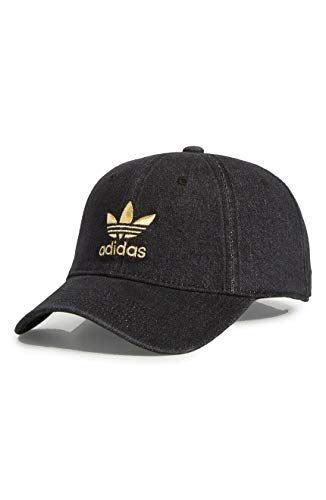 adidas Women's Originals Relaxed Fit Strapback Cap (Black Denim/Gold)