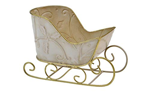 FavorOnline Ivory and Gold or Red and Gold Christmas Sleigh - Empty Container 8 - inch