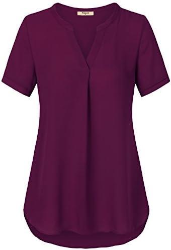 9acf7e513e Timeson Women's V Neck Short Sleeve Curved Hem Sheer Chiffon Blouse Shirts  Tops