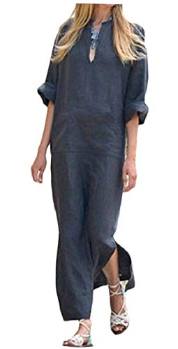 Qianqian-au Côté Des Femmes De Manches Longues Mode Poche Kangourou V Col Fendu Longue Robe 1