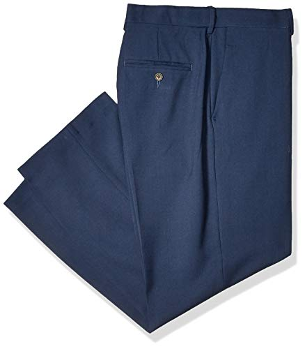 Haggar Men's Premium Comfort Classic Fit Flat Front Expandable Waist Pant, Blue, 44Wx28L