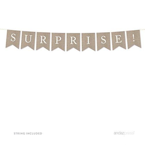 Andaz Press Hanging Bunting Pennant Party Banner with String, Printed Burlap, Surprise!, 4-Feet, 1-Set, Includes (Surprise Banner)