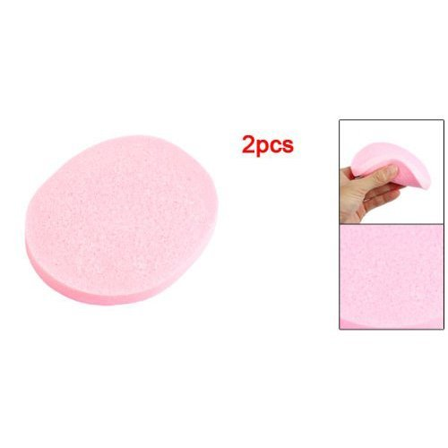 TOOGOO(R) 2 Pcs Cosmetic Oval Pink Sponge Facial Washing Cleansing Pads