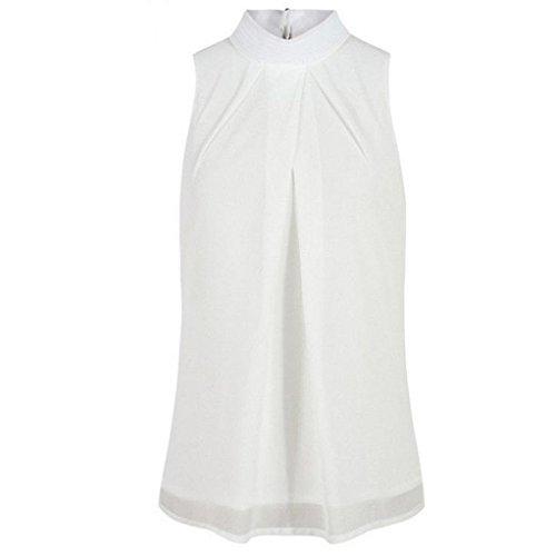 Women Plus Size Sleeveless Turtleneck Chiffon Solid Vest T Shirt Loose Tank Top(White,medium)