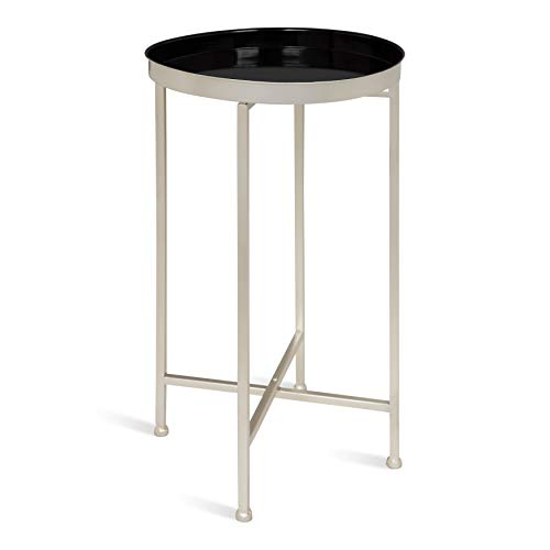 (Kate and Laurel 213957 Celia Round Metal Foldable Tray Accent Table, 14x14x25.75, Black with Silver Base)