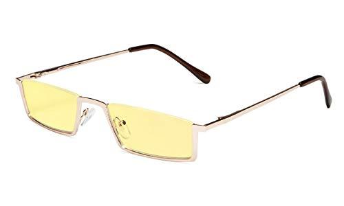 (Eyekepper Blue Light Blocking Reading Glasses Half-Rim Computer Readers Eyeglasses-Yellow Tinted Lens Reading Glasses (Gold, 2.75) )