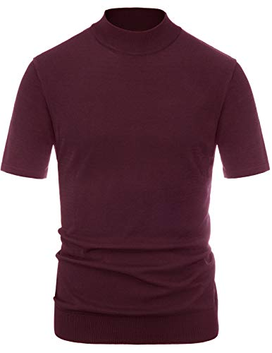 Men's Short Sleeve Sweater Mock Neck Pullover Sweater Tops Burgundy, - Top Shirt Turtleneck
