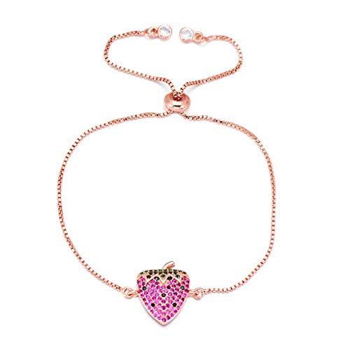 freedomer Christmas Fruit Series Charm Strawberry Bracelet Chain Zircon Bracelets for Women Girls Luxury Jewelry(Adjustable,Rose Gold)
