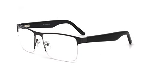 Men Eyewear Rectangle Shape semi-Rimless Metal Frame Non-prescription Eyeglasses