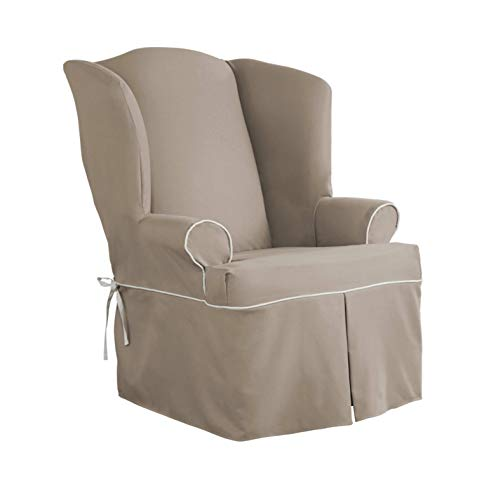 Serta | Relaxed Fit Durable Cotton Twill Canvas Furniture Slipcover, Reversible Fabric (Wingback Chair, Taupe/Ivory) ()