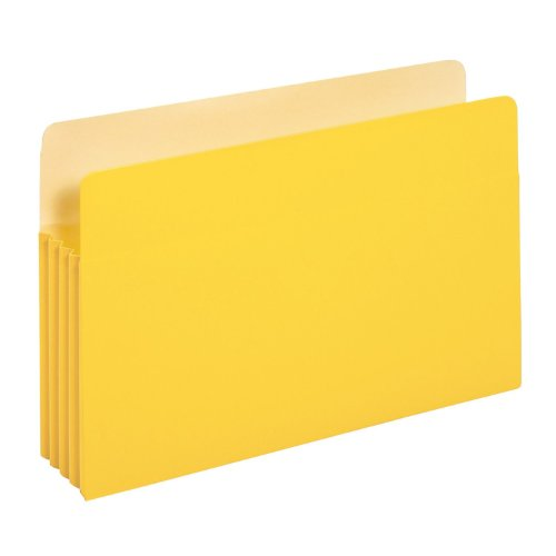 Globe-Weis/Pendaflex Colored File Pockets, 3.5-Inch Expansion, Legal Size, Yellow, Box of 25 (1526E YEL)