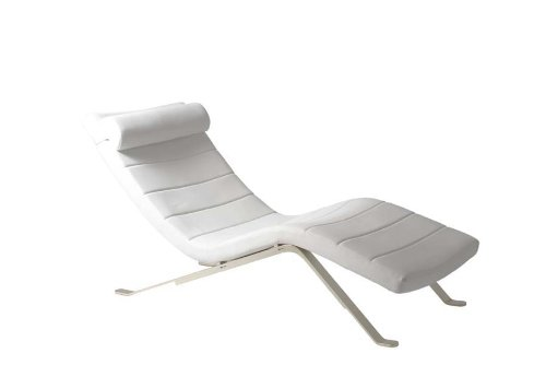 Eurø Style Gilda Leatherette Chaise Lounge Chair with Shiny Base, White - Euro Style Contemporary Chair