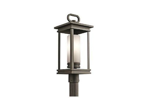 Kichler Lighting 49478RZ South Hope 1-Light Outdoor Post Mount, Rubbed Bronze Finish with Satin Etched Cased Opal Glass by Kichler Lighting [並行輸入品] B01LWU2OGY
