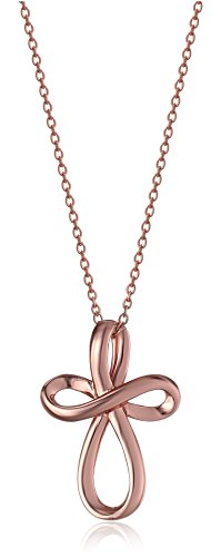 - Rose Gold-Plated Sterling Silver Open Loop Cross Pendant Necklace, 18