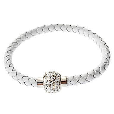 suravitshop-womens-pu-bracelet-with-crystal-disco-ball-magnetic-clasp-white