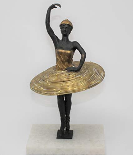 Global Views Luxe Art Deco Modern Ballet Dancer Sculpture | Gold Iron Ballerina Woman ()