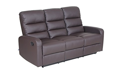 VH FURNITURE Top Grain Leather PU Ergonomic Recliner Sofa (3 Seater), Brown