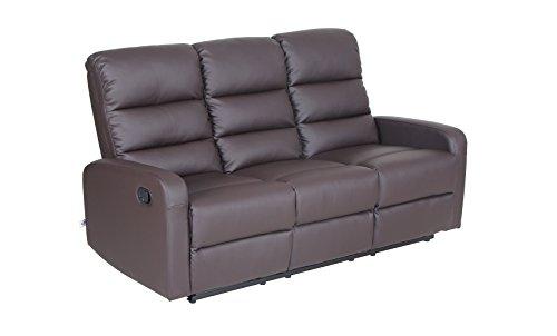 VIVA HOME Faux Leather PU Ergonomic Recliner Sofa (3 Seater), Brown