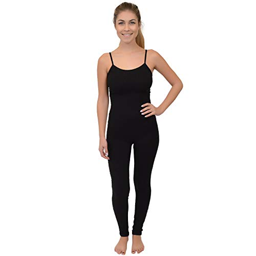 Stretch is Comfort Women's Camisole Unitard Dancewear Gymnastics Catsuit Spaghetti Strap (X-Large, Black)