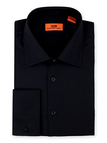 (Steven Land Men's Signature Solid Poplin Dress Shirt 100% Cotton French Cuff Also Available Big and Tall Black)