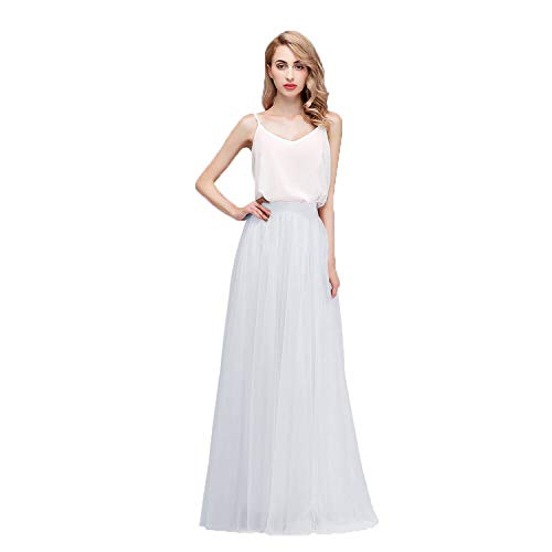 Honey Qiao Women's Maxi High Waist Skirts Blush Tulle Holiday Formal Skirt White