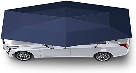車のテント、全自動の車傘は傘の車のポータブル自動保護サンシェード、アウトドアキャンプテント用の可動カーポートキャノピー(シルバーグレー)をつ折り,Navy blue,4.2m