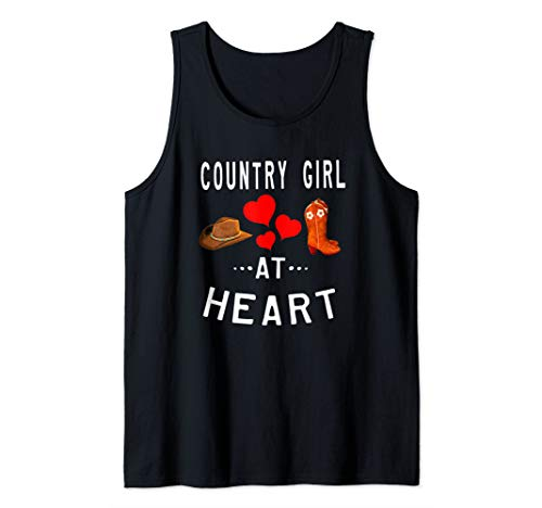 Country Girl At Heart Princess Cowgirl Boots Hat And Love Tank Top (Country Girl Heart T-shirt)