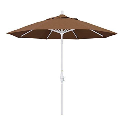 California Umbrella 9' Round Aluminum Market Umbrella, Crank Lift, Collar Tilt, White Pole, Sunbrella (Teak Sunbrella Shade)