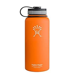 Hydro Flask Insulated Wide Mouth Stainless Steel Water Bottle, Orange Zest, 32-Ounce