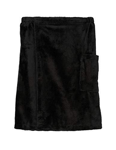 TowelSelections Men's Wrap, Shower & Bath, Water Absorbent Cotton Lined Fleece Medium/Large Jet Black ()