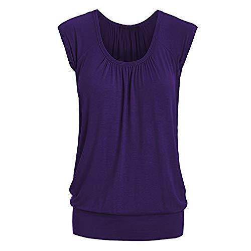 Summer Women's Elastic Waist Leaf Print Tops Sleeveless Tunics Flowy Banded Bottom Shirt Blouse Purple