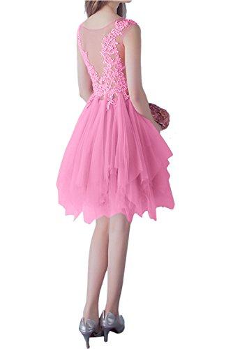 Spitze Rundkragen Damen Ivydressing Brautjungfernkleider elegant kurz Perlenrosa Abendkleider Ballkleid q4Un7wEFg